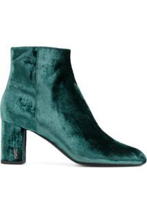 Saint Laurent Ankle Boot De Veludo 'Babies 90' - Green