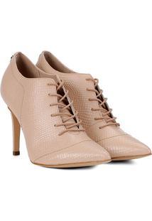 Ankle Boot Couro Jorge Bischoff Bico Fino Textura Cobra - Feminino-Bege