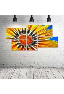 Quadro Decorativo - Sunflower-Neon - Composto De 5 Quadros