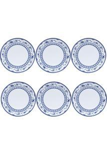 Jogo 6 Pratos Rasos Porcelana Regina 27Cm Azul Bon Gourmet