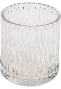Porta Vela Com Relevos- Incolor- 9Xø8Cm- Decor Gdecor Glass