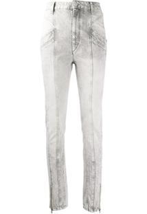 Isabel Marant Calça Jeans Slim Com Efeito Desbotado - Cinza