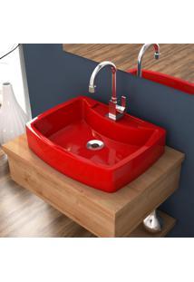 Cuba De Apoio Para Banheiro Compace Aria Rt50W Retangular Vermelha
