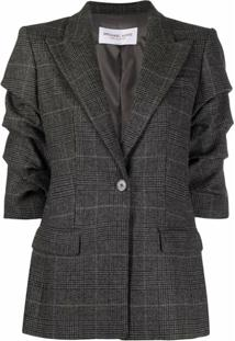 Michael Michael Kors Ruched-Sleeve Single-Breasted Blazer - Cinza