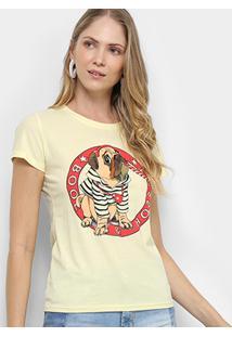 Camiseta Pérola Pug Feminina - Feminino-Amarelo