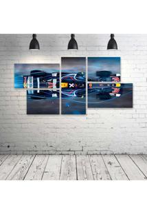 Quadro Decorativo - Formula-1-Red-Bull-Rb4-Race-Car-(2) - Composto De 5 Quadros - Multicolorido - Dafiti