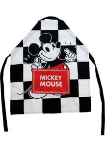 Avental Canvas Xadrez Com Bolso Mickey 75 X 60 Cm