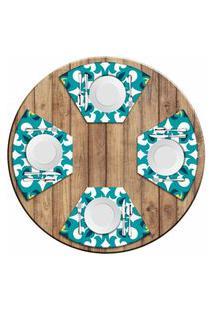 Jogo Americano Love Decor Para Mesa Redonda Wevans Mandala Green Kit Com 4 Pçs