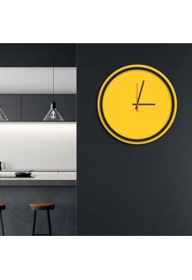 Relógio De Parede Decorativo Premium Minimalista Amarelo Com Borda Preta Em Relevo Médio