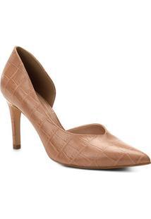 Scarpin Couro Shoestock Salto Alto Croco High Vamp - Feminino-Nude
