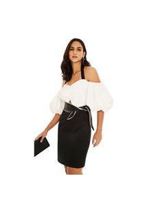 Vestido Morena Rosa Curto Decote V Bicolor Preto