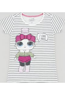 Blusa Infantil Lol Surprise Listrada Manga Curta Decote Redondo Off White