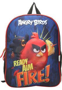 Mochila Santino 3D Angry Birds Azul/Vermelha