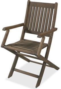 Cadeira Dobravel Com Braco Stain Nogueira Cor Escura 16751