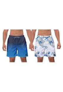 Kit 2 Shorts Flores Azuis Branco Estampado Caminhada Banho Esporte Surf Vôlei W2