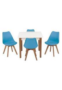 Conjunto Mesa De Jantar Luiza 80Cm Branca Com 4 Cadeiras Leda - Turquesa