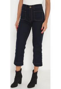 Jeans Cropped Super High- Azul Escuro- Ennaenna