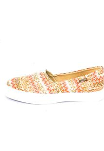 Tênis Slip On Quality Shoes Feminino 002 Étnico Laranja 33