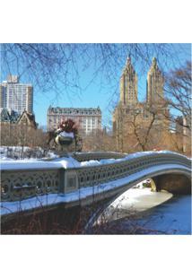 Placa Decorativa Ponte Central Park Inverno 25X25 Cm Preto