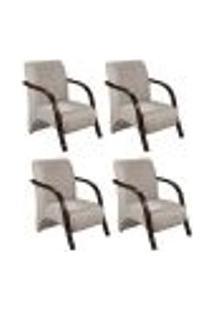 Conjunto De 4 Poltronas Sevilha Decorativa Braço De Madeira Cadeira Para Recepção, Sala Estar Tv Espera, Escritório, Vários Ambientes - Suede Bege