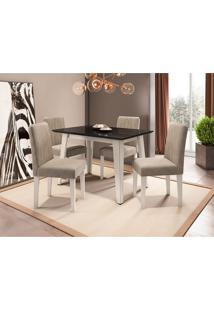 Conjunto De Mesa De Jantar Com Tampo De Vidro Jade E 4 Cadeiras Ana Animalle Preto E Bege