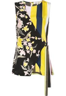 Diane Von Furstenberg Blusa Assimétrica Sedona - Preto