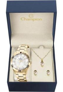 Kit Relógio Champion Analógico Cn27214W Feminino - Feminino-Dourado