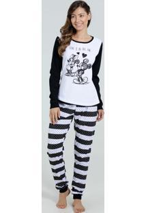 Pijama Feminino Bolinha Manga Longa Mickey Disney