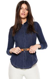 Camisa Jeans Dudalina Comfort Azul