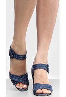 Sandália Bottero Salto Grosso Tiras Cruzadas Jeans Feminina - Feminino-Marinho
