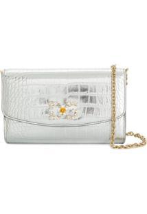 Dolce & Gabbana Clutch Metalizada Com Gravação Efeito Pele De Crocodilo - Prateado