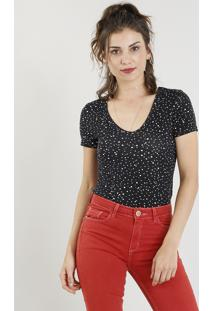 Blusa Feminina Estampada De Estrelas Manga Curta Decote V Preta