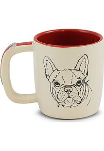 Caneca Pet-Buldogue Francês 350Ml -Mondoceram - Creme