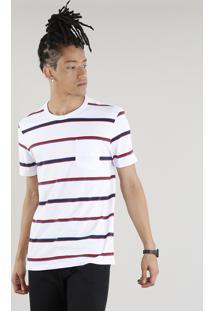 Camiseta Masculina Listrada Com Bolso Manga Curta Gola Careca Branca