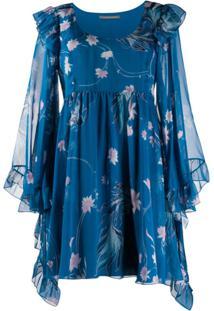 Alberta Ferretti Fantasia Floral Print Mini Dress - Azul