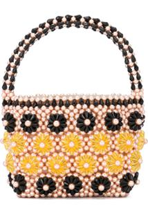 Shrimps Beaded Floral Tote - Rosa