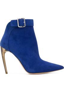 Alexander Mcqueen Ankle Boot De Couro - Azul