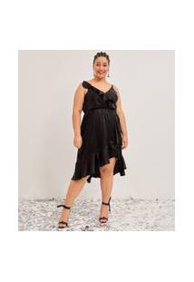 Vestido Midi Acetinado Com Babados E Textura Poá Curve & Plus Size   Ashua Curve E Plus Size   Preto   G