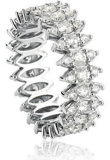 Anel De Ouro Branco 18K Aro Inteiro Com Navetes De Diamantes