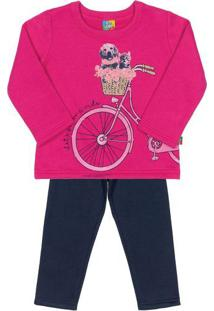 Conjunto De Blusa Bicicleta + Calã§A Reta- Pink & Azul Mabee Loop