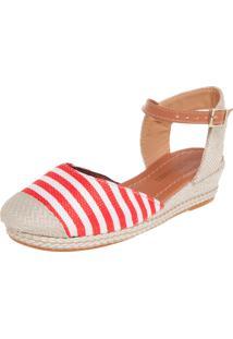 Scarpin Dafiti Shoes Anabela Baixa Vermelho/Branco