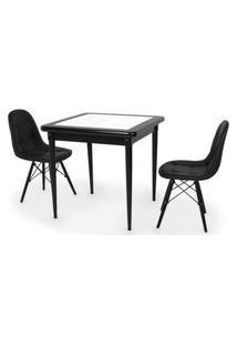 Conjunto Mesa De Jantar Em Madeira Preto Prime Com Azulejo + 2 Cadeiras Botonê - Preto