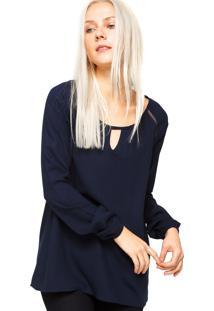 Blusa Cobertura Crochê Azul-Marinho