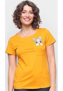 Camiseta Top Moda C/ Bolso Bordada Manga Curta Feminina - Feminino-Mostarda