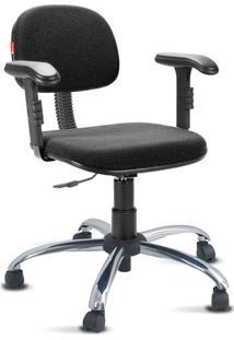 Cadeira Escritório Preto Cromada Com Braços