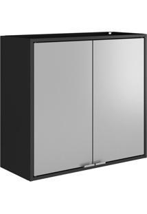 Armário Multiuso Smart 2 Portas - Itatiaia Móveis Cor:Preto/Cinza