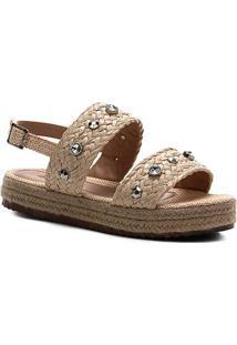 Sandália Shoestock Flatform Trança E Pedras Feminina - Feminino-Bege
