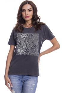 Camiseta Feminina Estonada Guitarist Skull