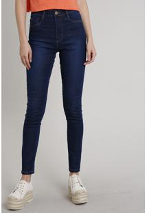 Calça Jeans Feminina Sawary Super Skinny Super Lipo Azul Escuro