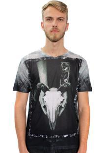 Camiseta Klauk Caveira Cabra Grafite